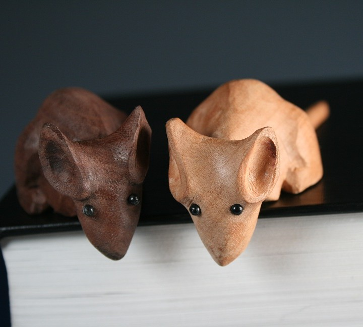 Mice morel wood carving