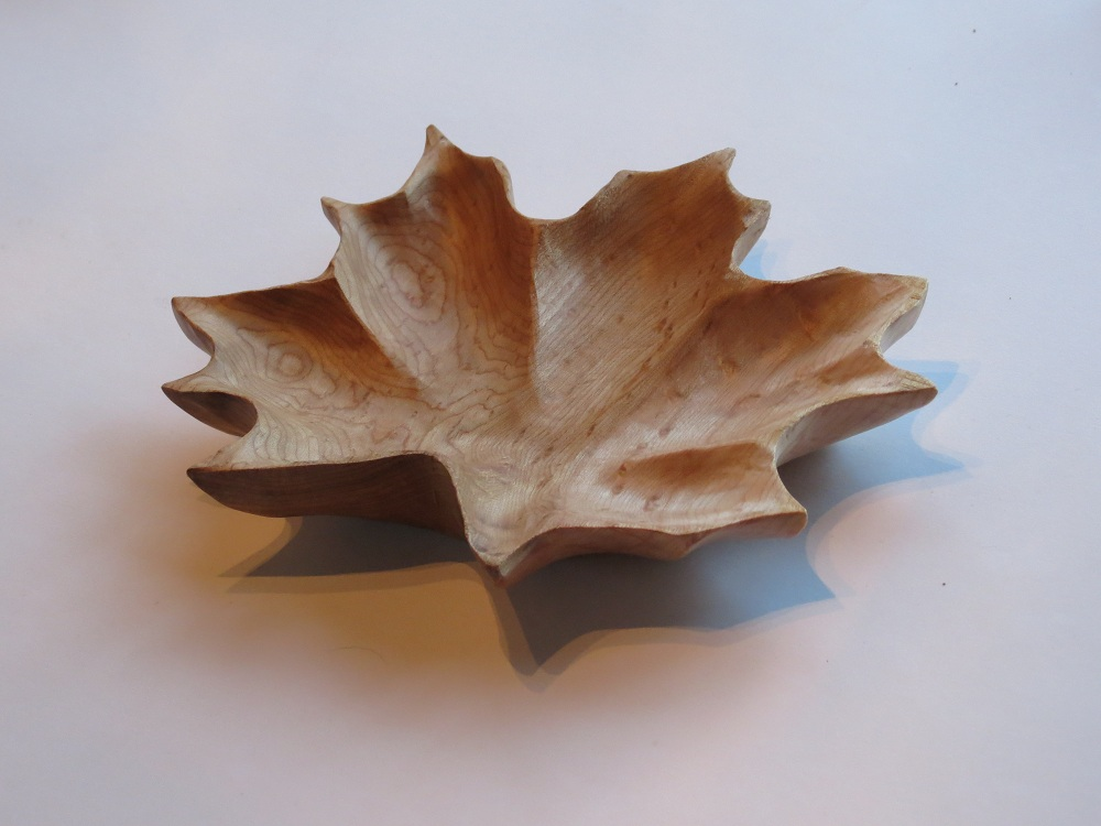 Maple leaf bowl birdseye morel wood carving