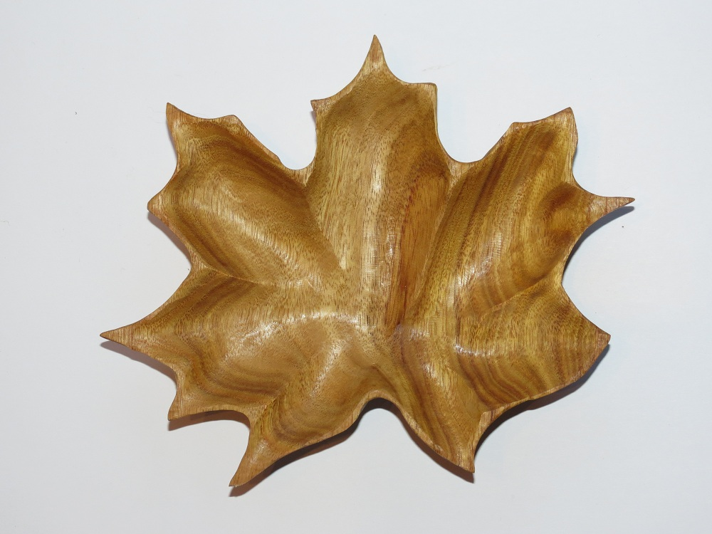Maple leaf bowl canary wood morel carving