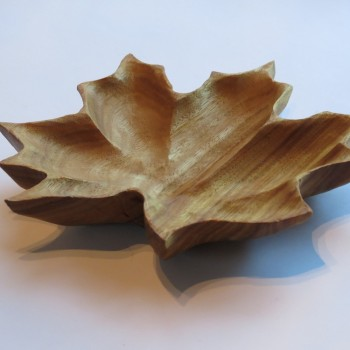 Maple Leaf  Bowl ( Canary Wood)