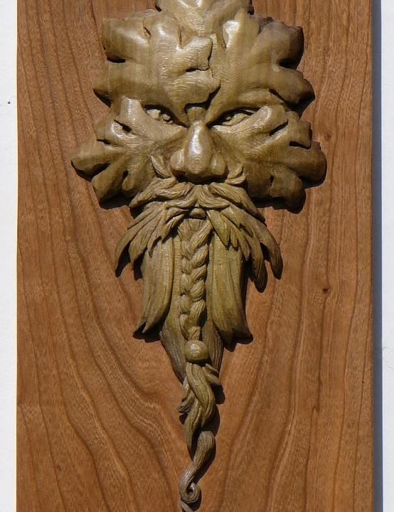 Braided green man morel wood carving