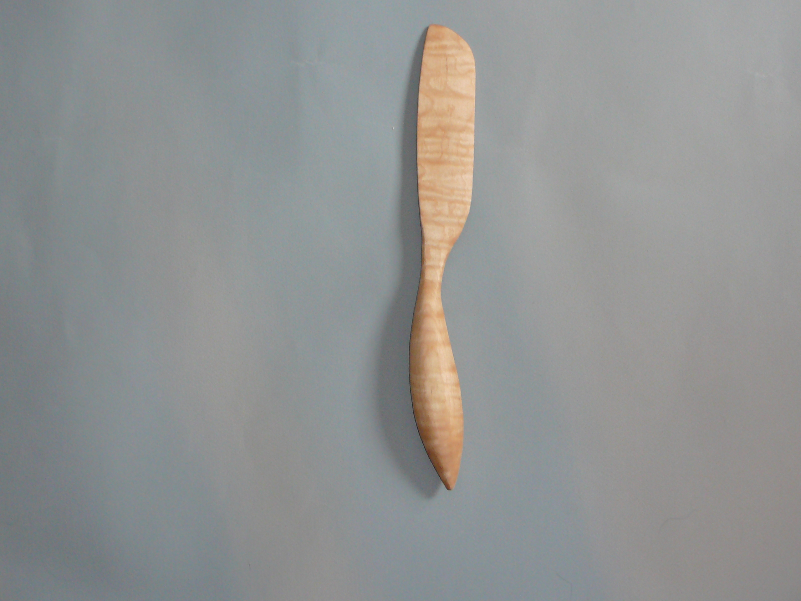 Hand carved tiger maple wood cake knife for sale morel