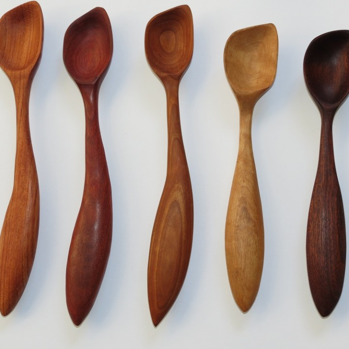 Right handed saute spoons morel wood carving
