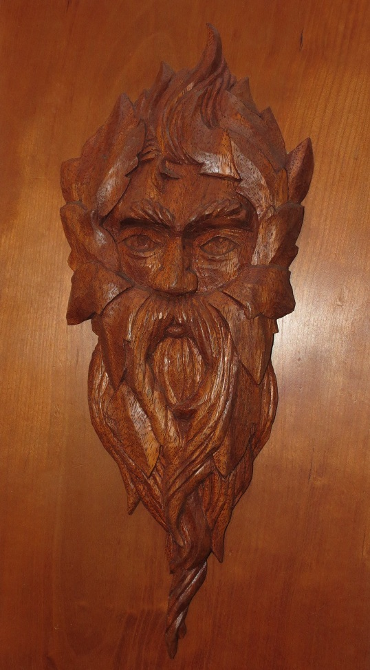 Transitional green man mahogany morel wood carving