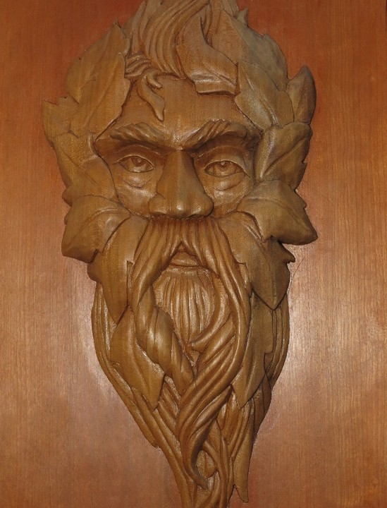 Transitional green man poplar morel wood carving