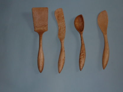 Hand Carved Right Handed Wooden Kitchen Utensil Set for Sale